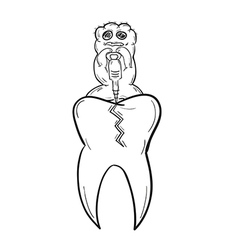 Sketch tooth with defect and ugly creature vector