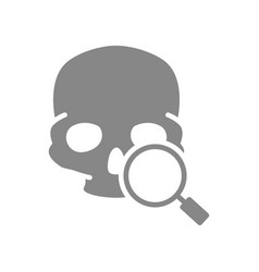 Skull with magnifying glass grey icon cranium vector