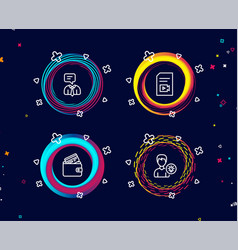 Support service video file and debit card icons vector
