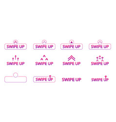 Swipe up set color up icons for stories vector