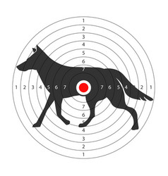 target for shooting gallery with wild wolf vector image