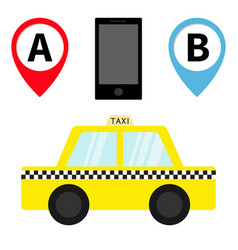 taxi car cab icon placemark map pointer vector image