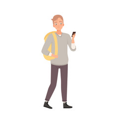 Teenager male with palms in pockets flat vector