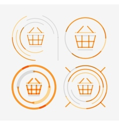 Thin line neat design logo set shopping cart icon vector