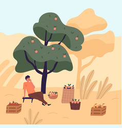 tired man sitting on bench eating apple relaxing vector image