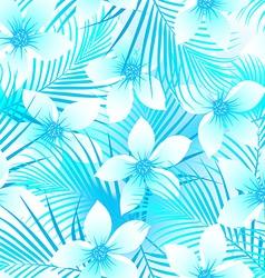 Tropical frangipani hibiscus with palms seamless vector image
