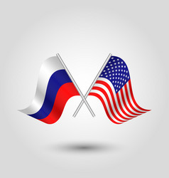 two crossed russian and american flags vector image