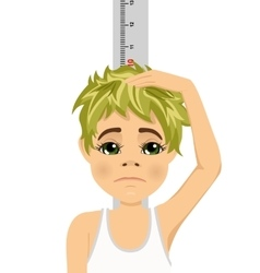 Unhappy teenager boy measuring his growth vector image