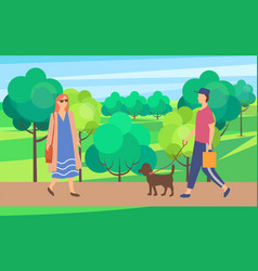 woman and man with dog on walk in city park vector image