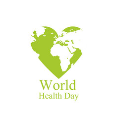 world health day continents and heart festive vector image