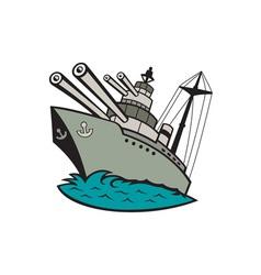 World war two battleship cartoon vector