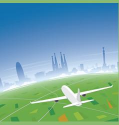 barcelona skyline flight destination vector image vector image