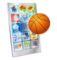 basketball ball mobile phone vector image vector image