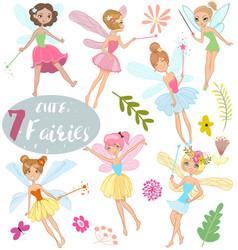 cute cartoon fairies vector image vector image