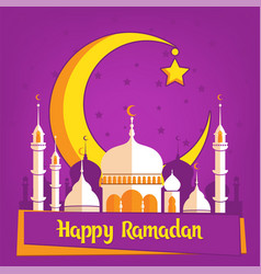 greeting card template for muslim holiday with vector image