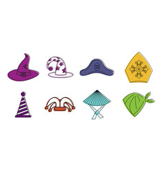 haloween hat icon set color outline style vector image vector image