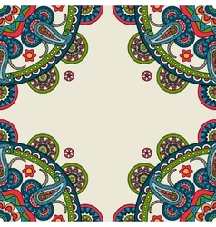 Indian doodle paisley colored frame vector image vector image