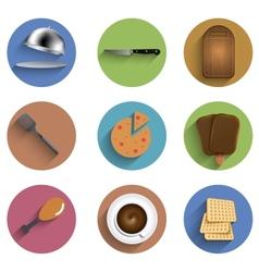 flat food circle icon set Eps10 vector image