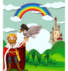 King and eagle in the field vector image vector image