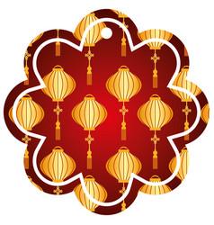 label flower chinese pattern lantern decoration vector image