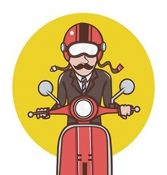 Man with red helmet riding a red scooter vector image