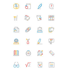 School and education colored line icons 3 vector