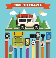 time to travel modern flat design with jeepsummer vector image