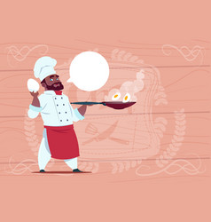 african american chef cook holding frying pan with vector image vector image