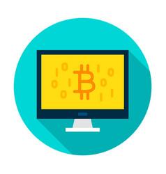computer bitcoin circle icon vector image vector image
