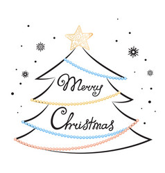 merry christmas hand lettering fir tree star vector image vector image