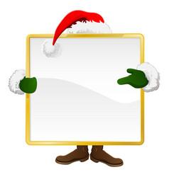 santa behind christmas sign vector image vector image