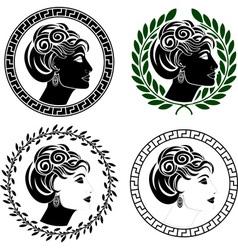 set of roman woman profiles vector image