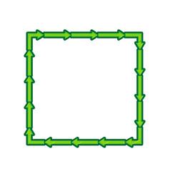 Arrow on a square shape lemon scribble vector