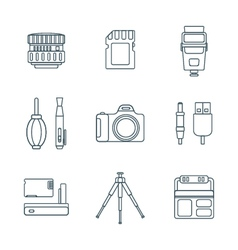 dark outline various digital photography tools vector image