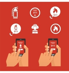 Emergency fire alert via telephone Set of Icon vector image
