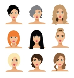 Set of woman hair styling flat vector image vector image