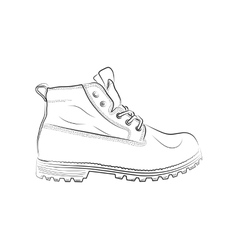 Sketch of a male shoe on white background vector image vector image