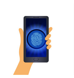 a human hand is holding a smartphone isolated on vector image