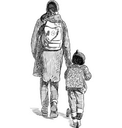 a young mother with her kid go on a stroll vector image