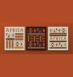 Africa culture ethnic tribal art african card set vector