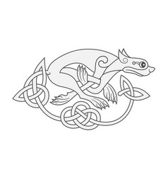 Ancient celtic mythological symbol of wolf dog vector