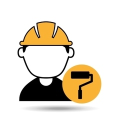 Avatar man construction worker with roller paint vector