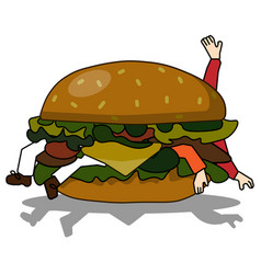 Bad burger eating people vector