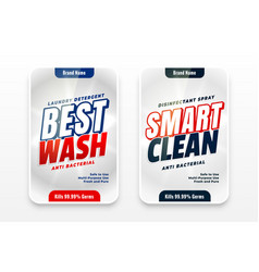 Best wash smart cleaner detergent labels template vector