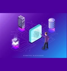 Biometric blockchain flat isometric concept vector