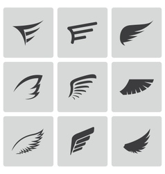 black wing icons set vector image