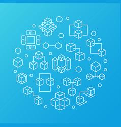 Blockchain technology circular blue line vector