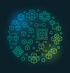 blockchain technology colored round vector image