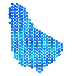 Blue hexagon barbados map vector