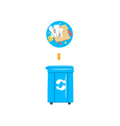 blue trash garbage can with sorted garbage vector image
